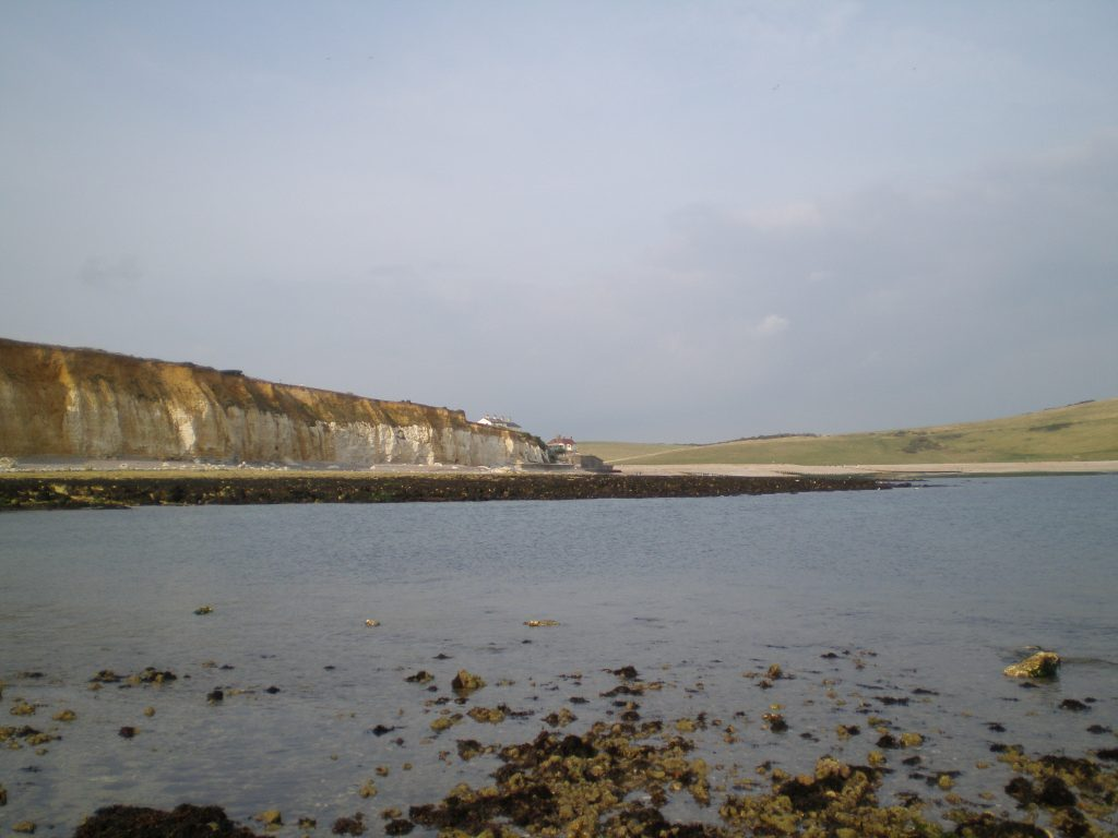 Coastguard cottages at Cuckmere Haven from Seaford rockpools