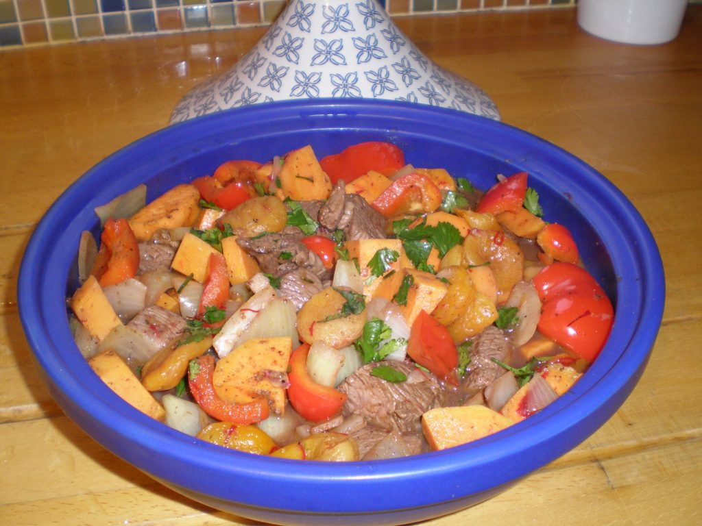 Lamb tagine prepared and ready to slow cook