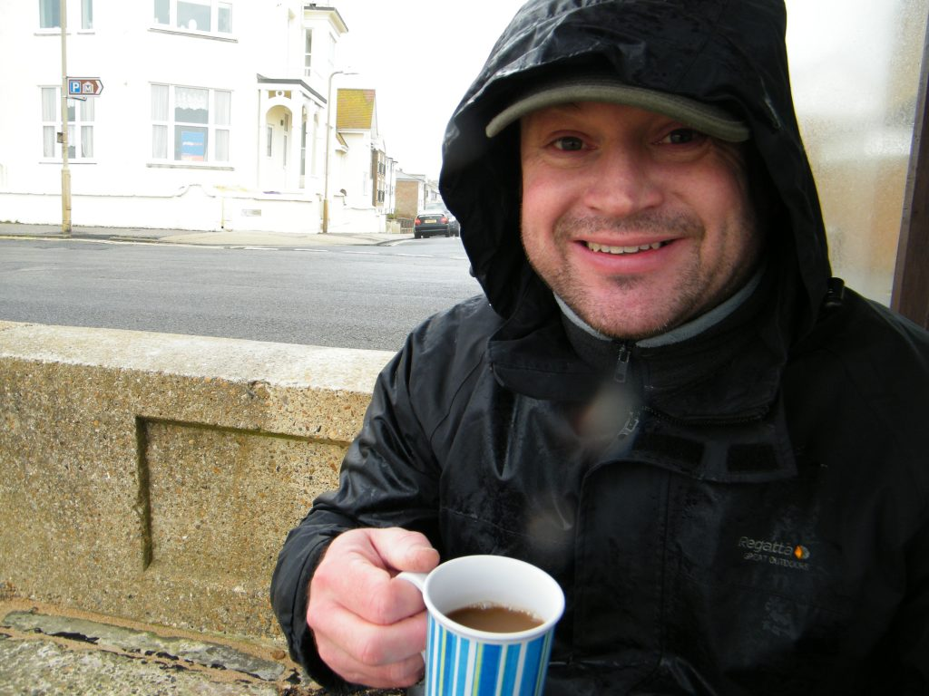 drinking coffee Seaford seafront