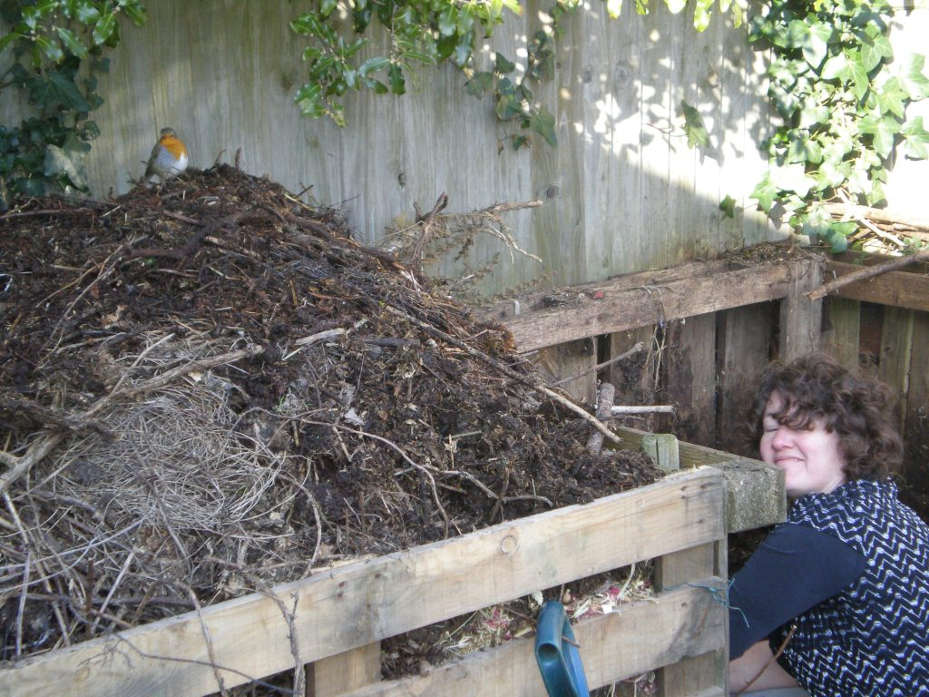 Robin supervising making compost