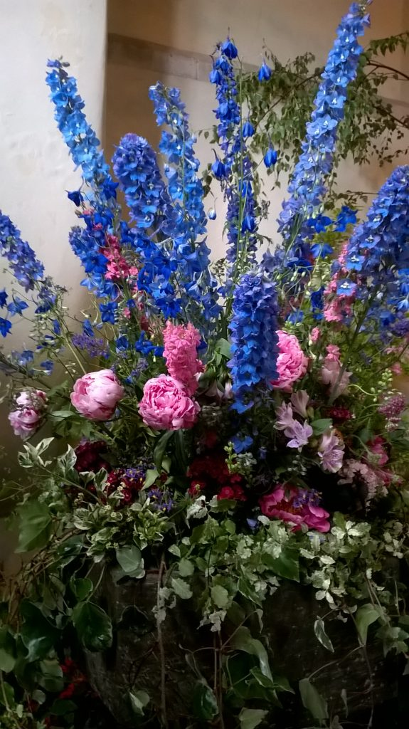 peonies delphiniums flower arrangement
