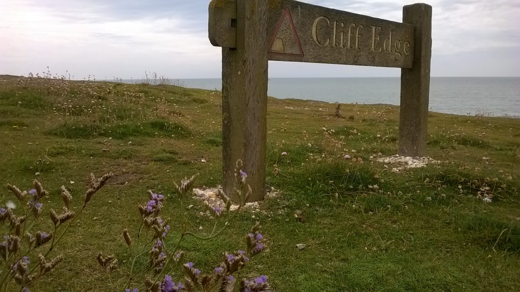 sea lavender seaford cliff edge sign